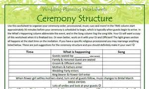 planning a wedding ceremony ceremony structure and worksheet geg 39 s wedding planning templates digital file