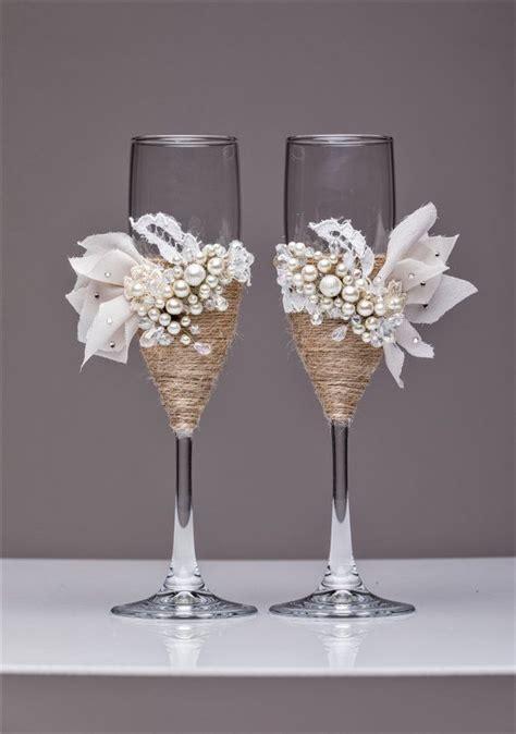 white rustic chic wedding glasses  rope rustic wedding