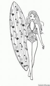 Barbie Surfer Coloring Pages Surfing Colorkid Template sketch template