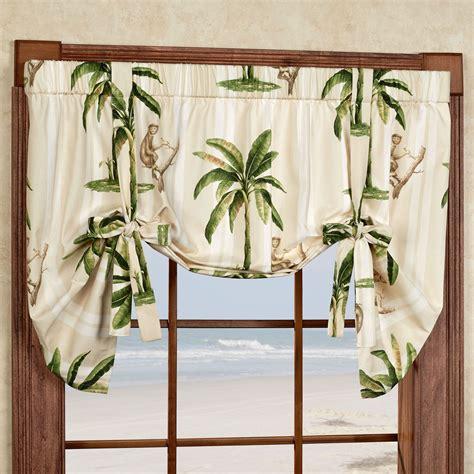 tropica palm tree tie up window valance