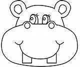 Hippo Coloring Face Cartoon Printable Sheets Thevillageanthology Procoloring sketch template