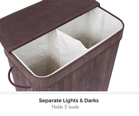 Birdrock Home Double Laundry Hamper With Lid And Cloth