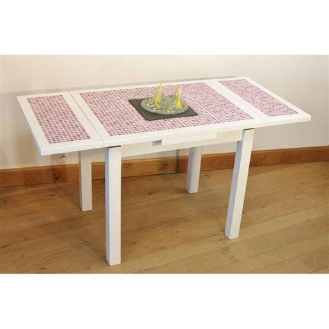 table cuisine blanche ensemble table cuisine carrelée mosaïque 4 chaises laquées blanche