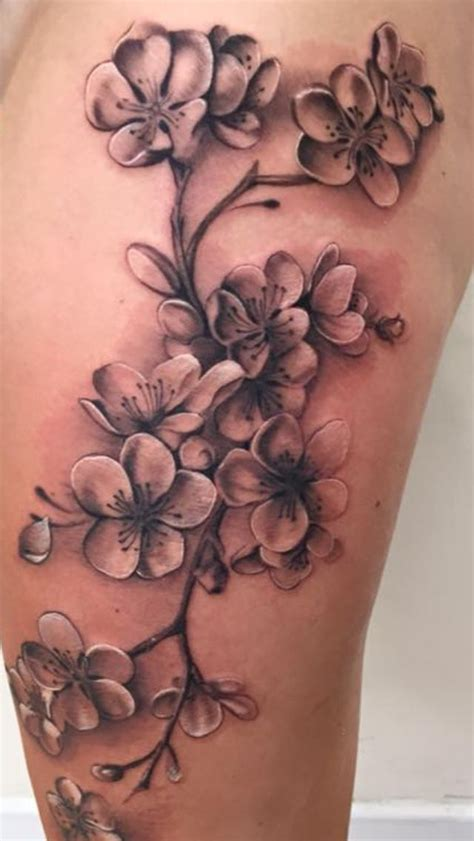 cherry blossom tattoo  black  grey   left