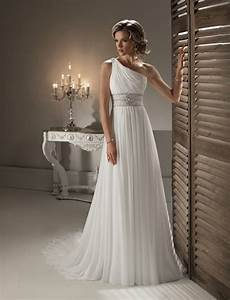 one shoulder 2016 white chiffon summer bridal gowns beads With white chiffon wedding dress