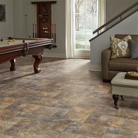 resilient modular slate vinyl floor  basement kitchen