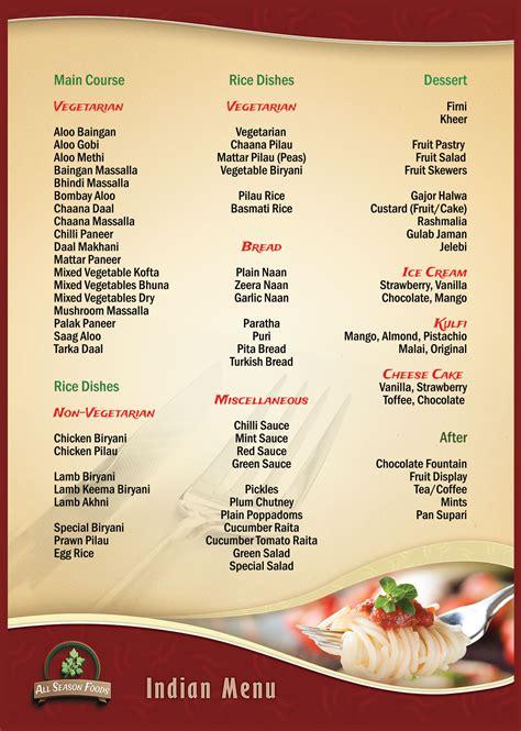 indian menu  season foods halal catering sandwich