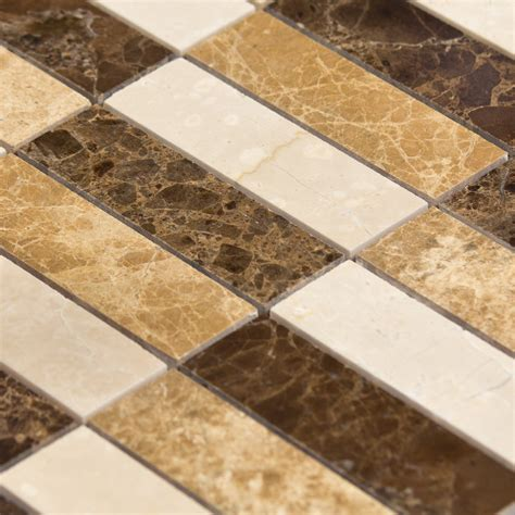 travertin cuisine mosaïque marbre mixcolor lamelles marron beige indoor by