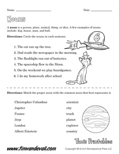 free printable noun worksheets for teachers language arts