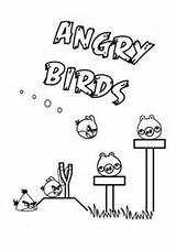 Angry Birds Coloring Pages Bird Slingshot Pigs Useful Yellow Colouring Beads sketch template
