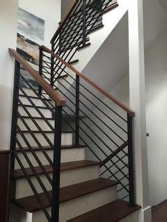 horizontal black flat bar railing contemporary