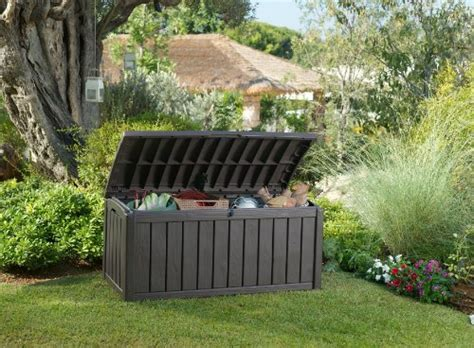 keter glenwood 390 litre deck box keter glenwood outdoor plastic storage box garden