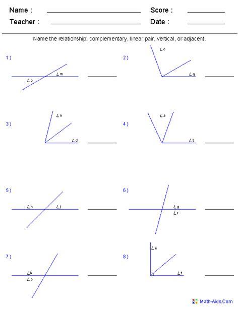 geometry worksheets angles worksheets  practice