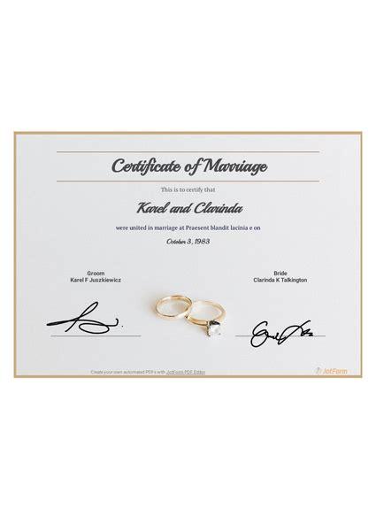 Free Marriage Certificate TemplateTemplates JotForm