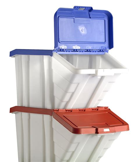 stackable bin storage cabinets beautiful kitchen with 2 red blue plastic picking and