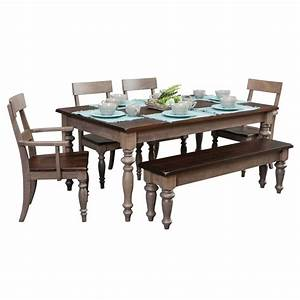 Serenity Table with Chairs and Bench - Amish Crafted Furniture