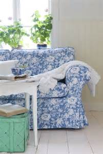 picture of blue floral print ektorp sofa