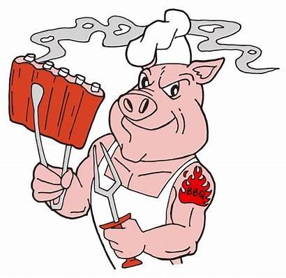 Bbq Pig Ribs Cartoon Clipart Chef Holding