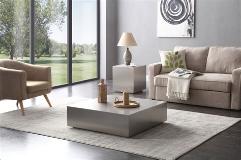 Hey chris, i have to buy a coffee table for a decent size formal living room with champagne colour l. Modrest Anvil Modern Brushed Stainless Steel Coffee Table - Coffee Tables - Living Room