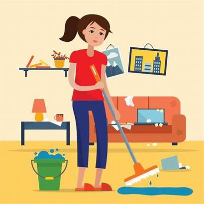 Floor Cleaning Messy Woman Dirty Mop Vector