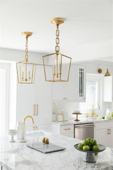brass mini lanterns  marble top island transitional