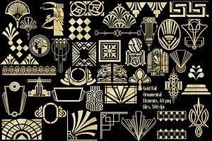 Deco Designer Of Note Art Deco Gold Foil Ornamental Elements Clip Art 159395