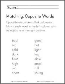 students match pairs of antonyms click here to print