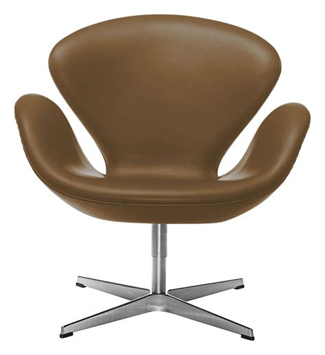 swan chair swivel armchair leather version brown leather