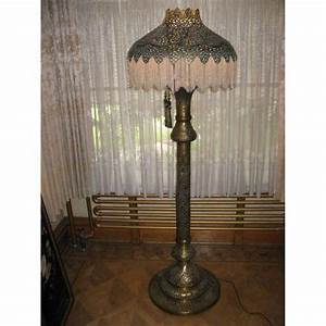 syrian beaded pierced brass lamp 77quot tall With brass beaded floor lamp