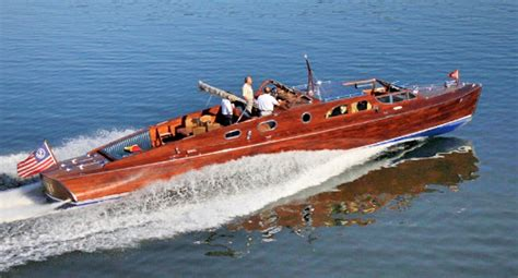 1956 Higgins Wood Boat by Classic Mahogany Yacht To Be Featured At Wheels And Keels