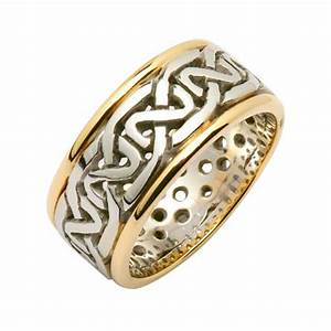 irish two tone wedding ring celtic knots wide 18k gold With celtic wedding rings ireland