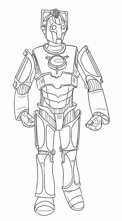 Coloring Doctor Pages Cyberman Dr Colour Colouring