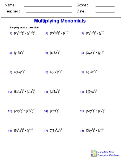 adding  subtracting polynomials worksheet math aids