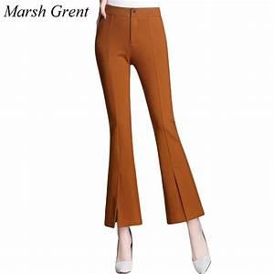 Fashion Women Pants 2017 Spring Casual OL Leg Split flare ...