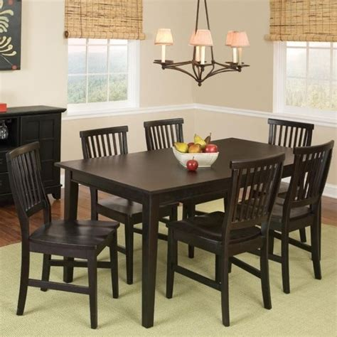 7 pc black dining room set wood kitchen furniture table