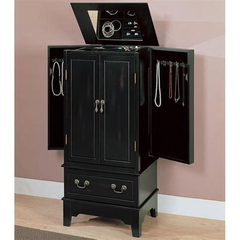 Distressed Armoires by Black Distressed Jewelry Armoire Coaster Furniture 1