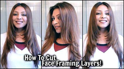 cut face framing layers  home diy long layered haircut cut   hair tutorial
