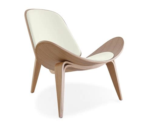 hans j wegner style shell chair white cushion