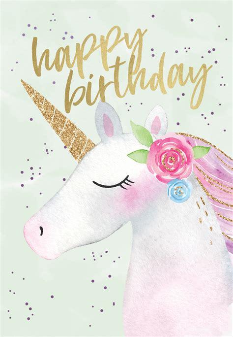 happy unicorn birthday card   island