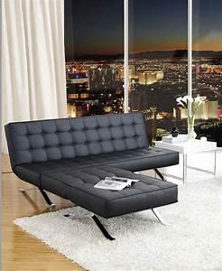canape lit simili cuir noir design With canapé lit cuir noir