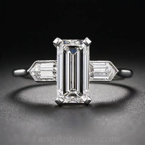emerald cut deco engagement rings 2 05 carat g vs2 emerald cut deco engagement