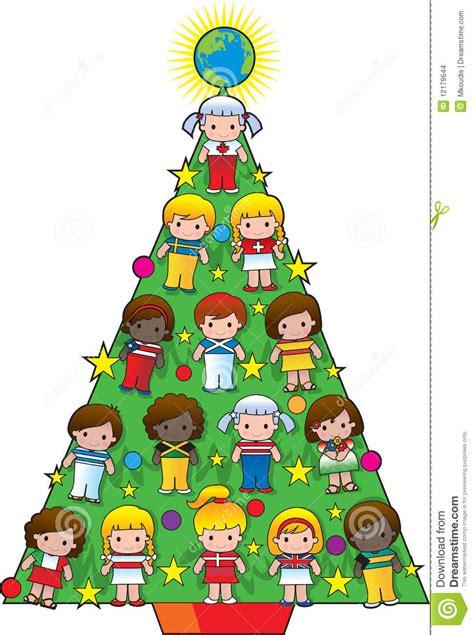 country children christmas tree stock photo image