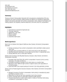 resume summary for claims adjuster professional workers compensation specialist templates to showcase your talent myperfectresume
