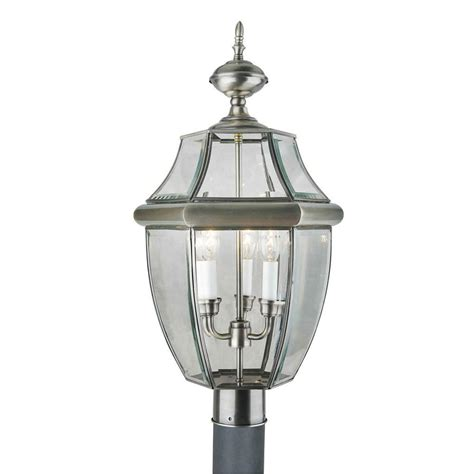 3 light antique pewter outdoor post light with clear