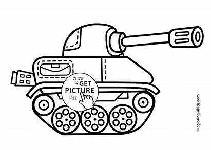 Coloring Tank Transportation Pages Printable Children 4kids