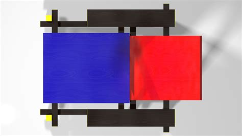 chaise bleue pin piet mondriaan on
