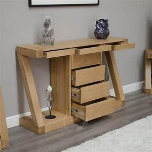 Z shape solid oak large hall console table with drawers for Hall console tables with drawers
