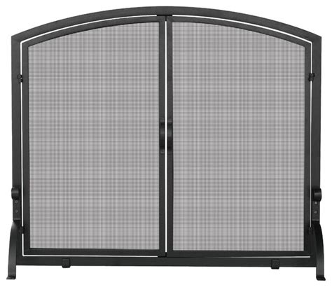 single panel fireplace screen with doors single panel black iron fireplace screen with doors