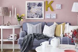 Deco Salon Ikea : d co salon petit salon couleur pastel canape coussins cadres photos ikea ~ Teatrodelosmanantiales.com Idées de Décoration