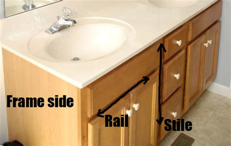 cabinet stiles and rails bathroom vanity makeover plus how to brush paint cabinets